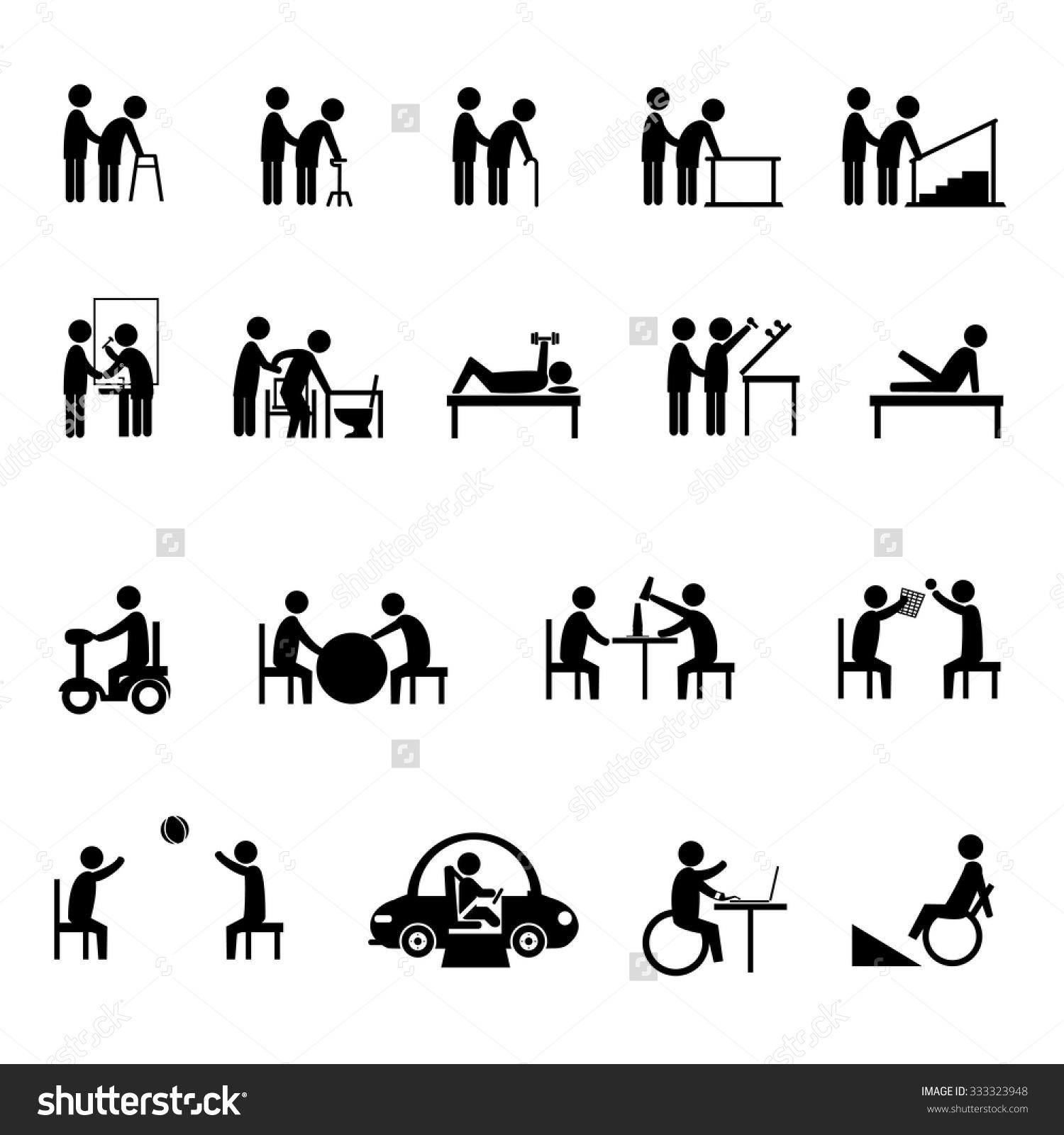 Medical Rehabilitation Activity Elderly Person Disability Stock.