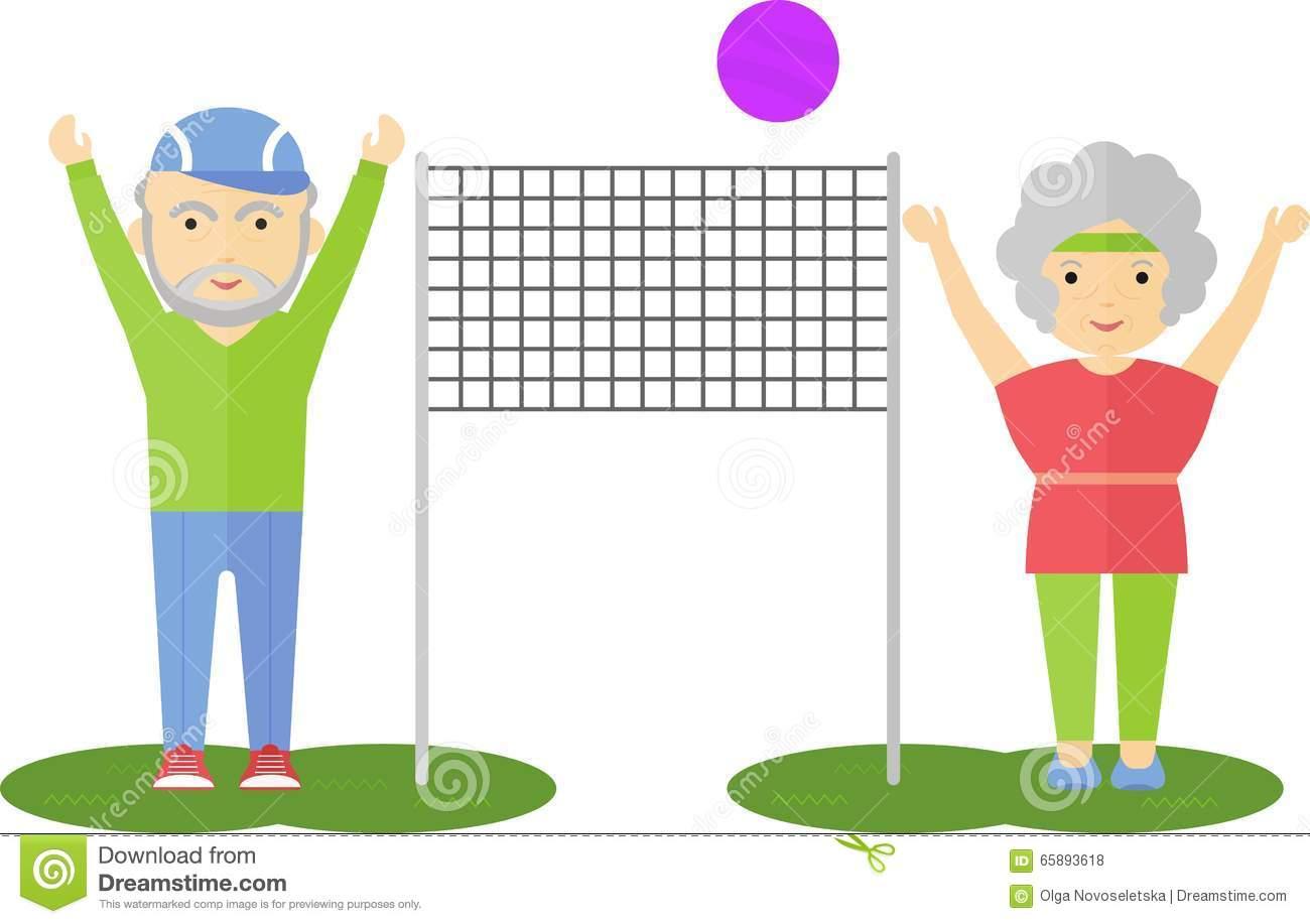 Elderly People Sport Activity Stock Illustrations.