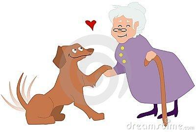 Elderly Woman Petting Dog. Royalty Free Stock Photos.