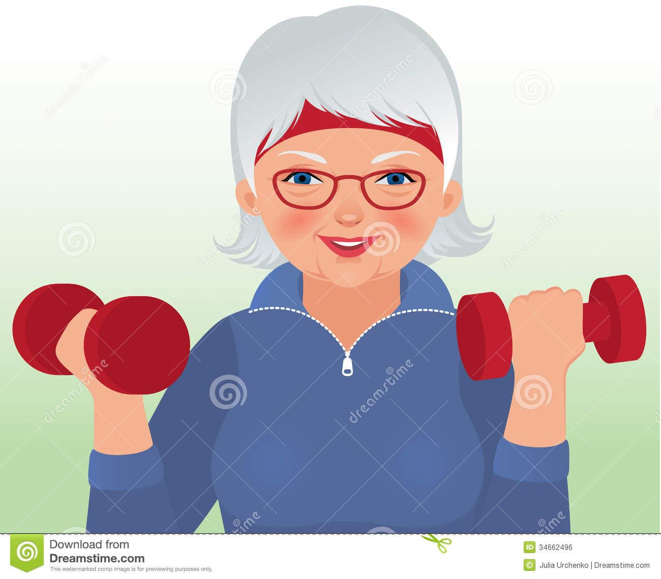 Elderly Exercise Stock Illustrations.