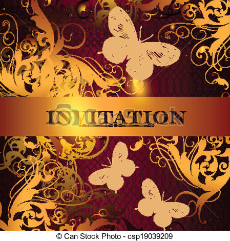 Vector Clipart of Beautiful invitation design in ele.