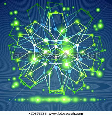 Clipart of 3D origami abstract wireframe object, vector abstract.