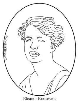 Eleanor Roosevelt Clip Art, Coloring Page or Mini Poster.