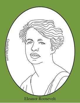 Eleanor Roosevelt Clip Art, Coloring Page or Mini Poster in.