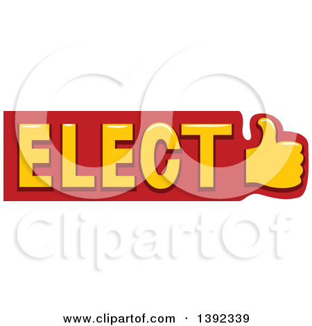 Clipart of a Thumb up and Political Elect Text.