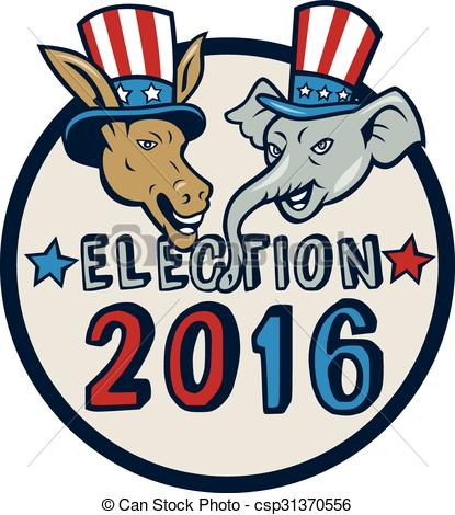 Clipart Vector of US Election 2016 Mascot Donkey Elephant Circle.