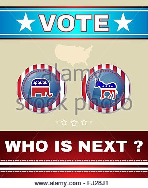 A donkey versus elephant 2016 election or presidential election.