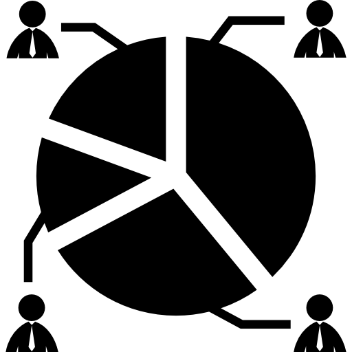 Circular graphic with candidates percentages of votation Icons.
