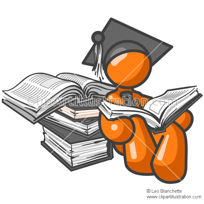 ClipArt Illustration Orange Man Graduate or Student with Book.