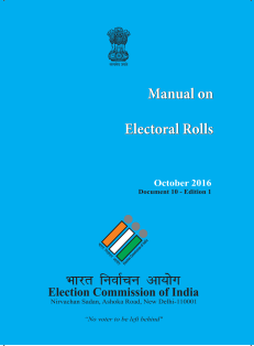 Manual on Electoral Roll, 2016.