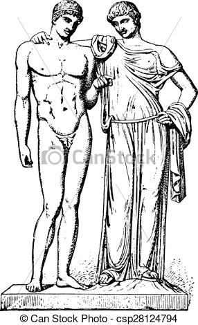 EPS Vectors of Orestes and Electra, vintage engraving..