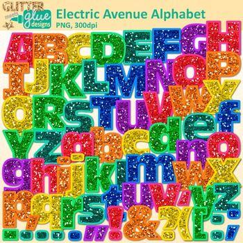 Electric Ave Glitter Alphabet Clip Art {Great for Classroom Decor.