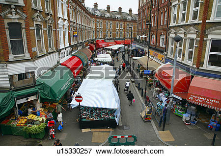 Picture of England, London, Brixton. Brixton Market on Electric.