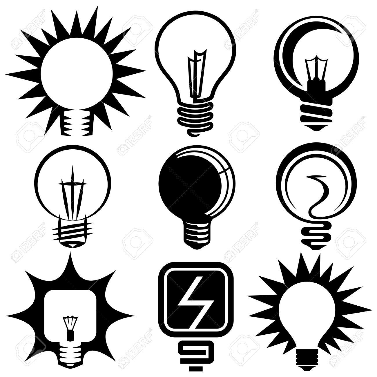 Electric Bulb Symbols And Icons Set Royalty Free Cliparts, Vectors.