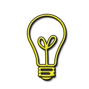 Clipart Picture of a Yellow, See Through Light bulb.