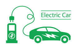 Vector Black Electric Car Icons Set Royalty Free Stock Image.