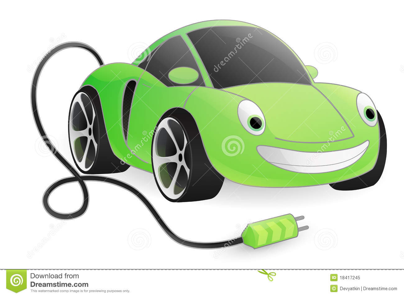 Green Electric Car Royalty Free Stock Photo.
