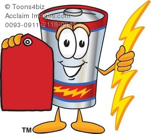 Clipart Cartoon Battery Holding a Red Price Tag.