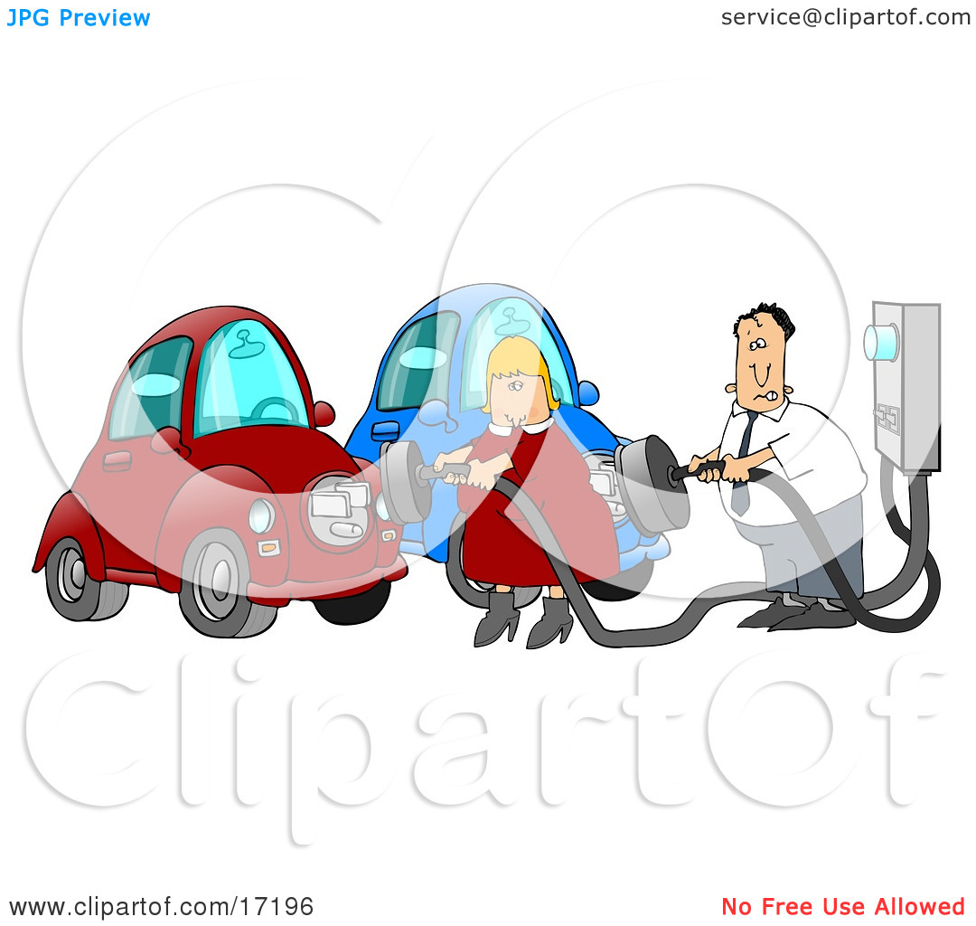 Caucasian Couple, a Man and a Woman, in Their Garage, Plugging in.