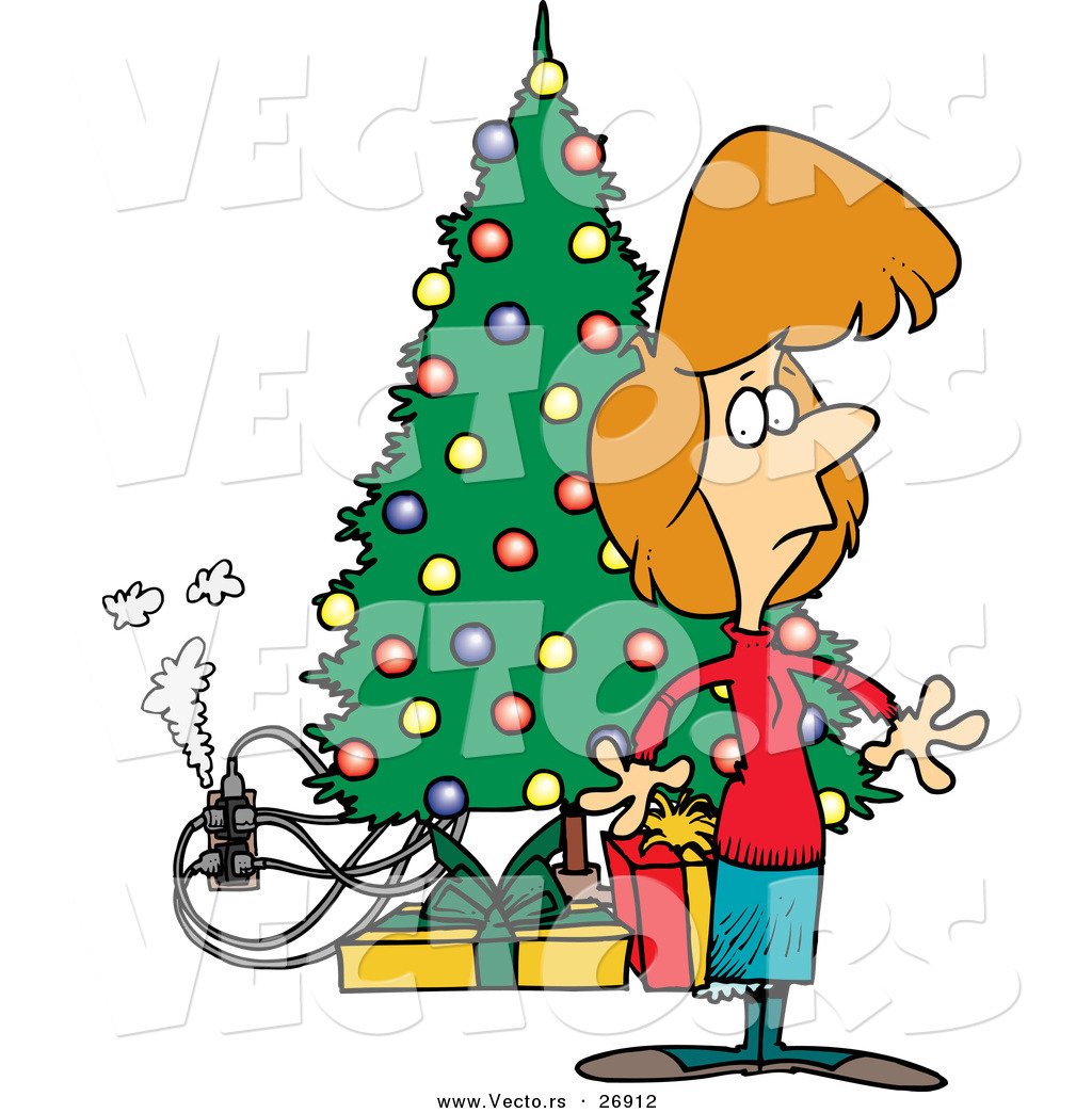 Cartoon Vector of a Smoking Electric Hazard Beside a Christmas.