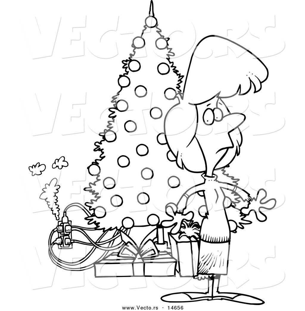 Vector of a Cartoon Woman Standing by a Christmas Tree with an.