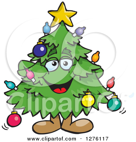 Clipart of a Happy Christmas Tree Playing an Electric Guitar.