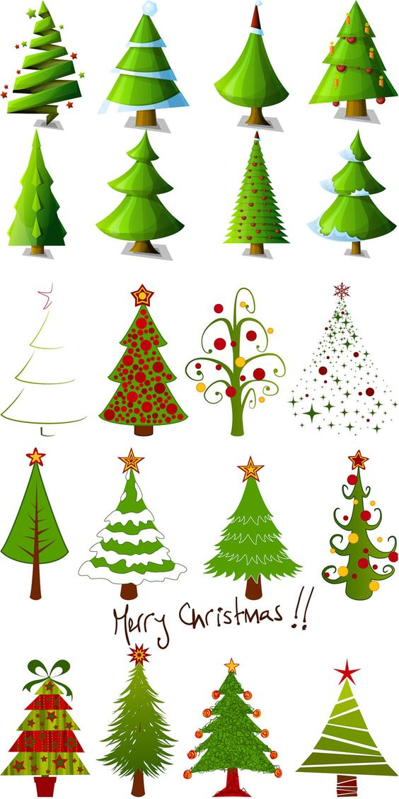 2 Sets of 20 vector cartoon Christmas tree designs in different.