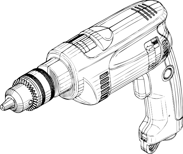 Electric Drill clip art Free vector in Open office drawing svg.