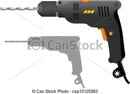 Clip Art Vector of Power drill.