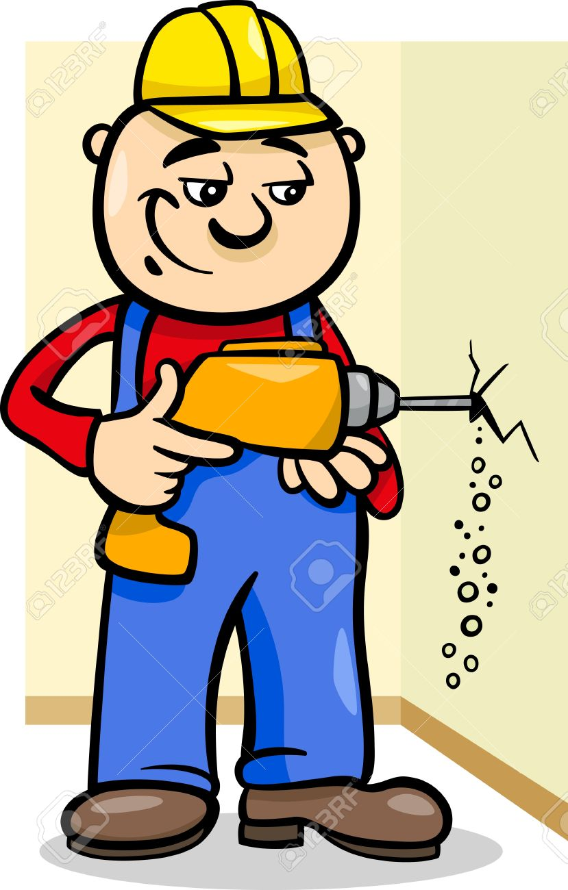 Cartoon Illustration Of Man Worker Or Workman Drilling With.