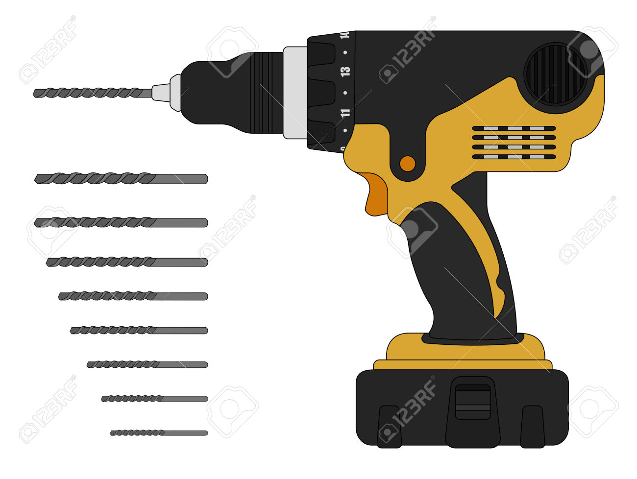 Electric Drill And Bits. Cordless Battery Construction Hand Drill.