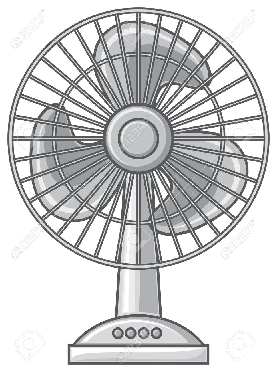 Electric fan clipart black and white.