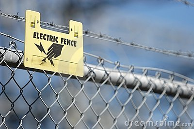 Electric Fence Sign Stock Photography.