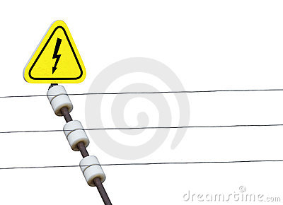 Electric Fence Danger Sign Royalty Free Stock Photography.