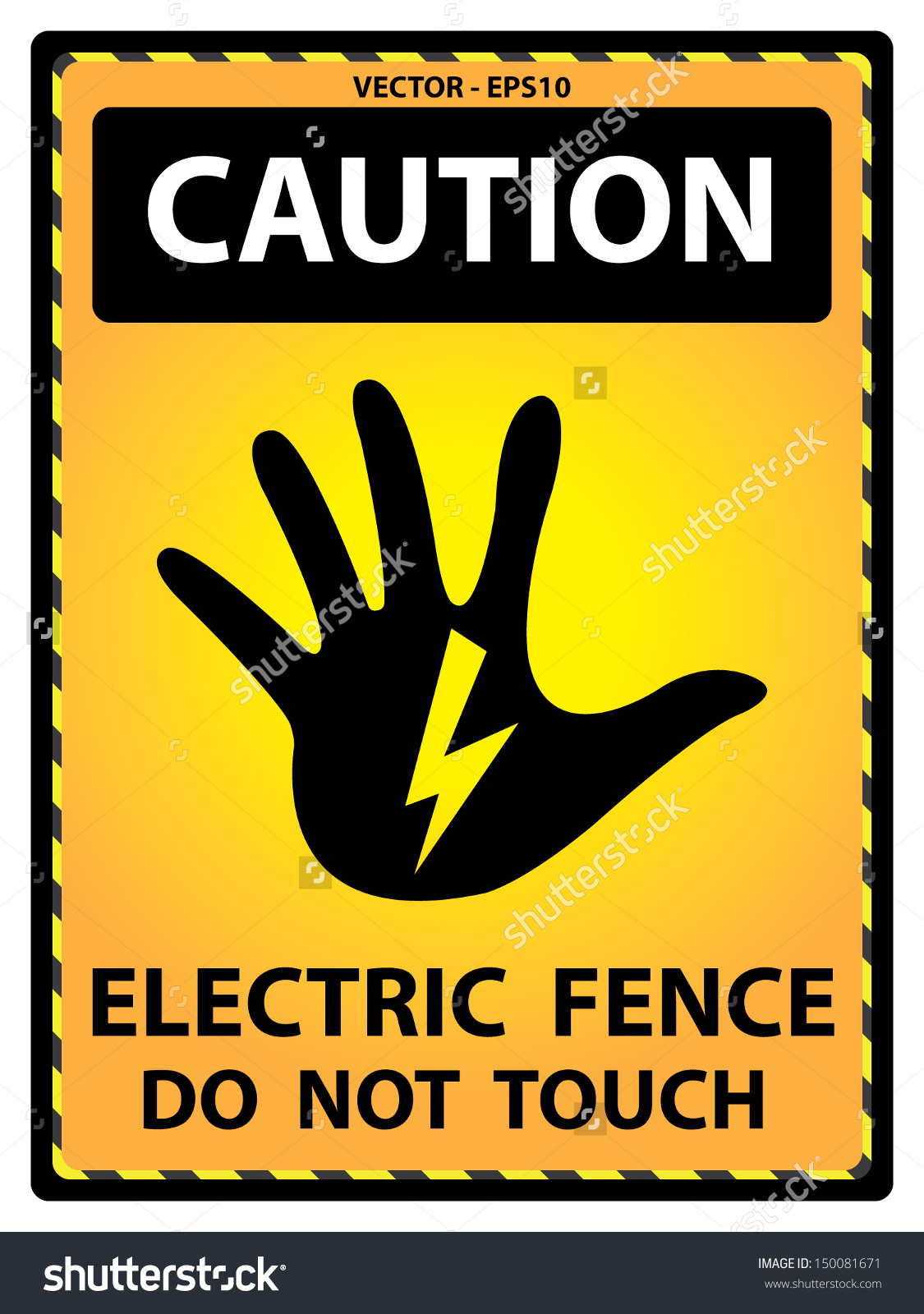 Vector : Yellow Caution Plate For Safety Present By Electric Fence.