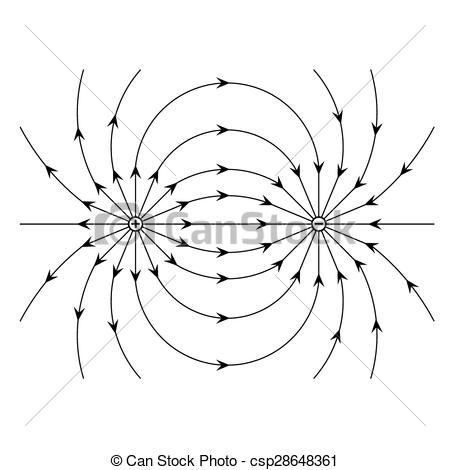 Clip Art Vector of Electric field of a positive and a negative.