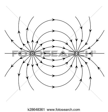 Clipart of Electric field of a positive and a negative point.