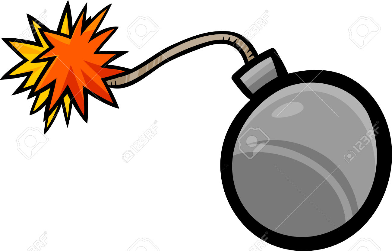 Cartoon Illustration Of Bomb With Fuse Clip Art Royalty Free.