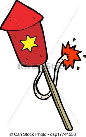 Clip Art Vector of cartoon firework with burning fuse csp17730467.