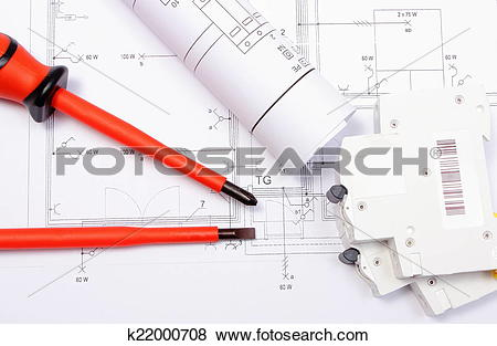Pictures of Electrical diagrams, electric fuse and screwdrivers on.