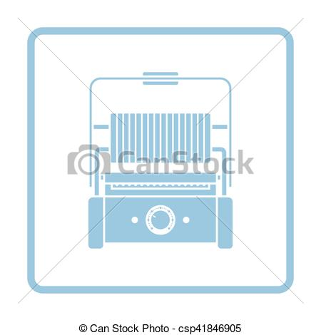 Vector Clipart of Kitchen electric grill icon. Blue frame design.