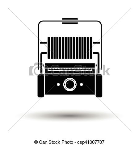 Vector Clipart of Kitchen electric grill icon. White background.