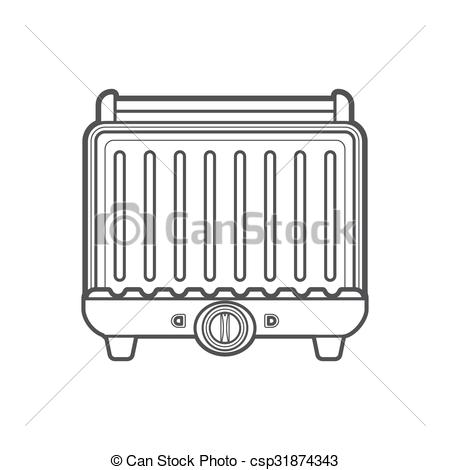 EPS Vector of outline metal kitchen electric grill illustration.