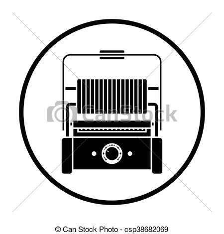 Clip Art Vector of Kitchen electric grill icon. Thin circle design.