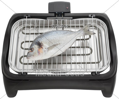 Stock Photo Fish On Electric Grill Clipart.