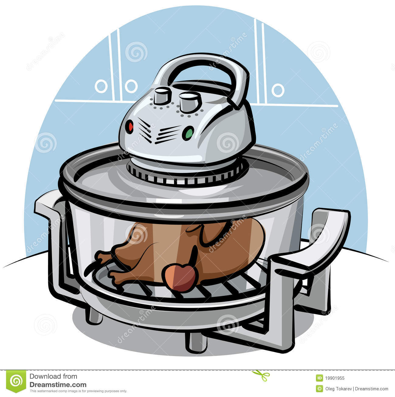 Electric Grill With Roasted Chicken Royalty Free Stock Photo.