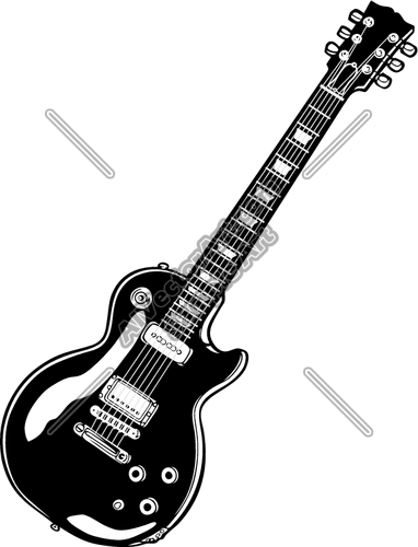 Electric Guitar Black And White Clipart.
