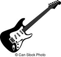 Stock Photographs of Electric guitar icon, black monochrome style.
