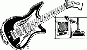 Electric Guitar In Monochrome Clip Art.