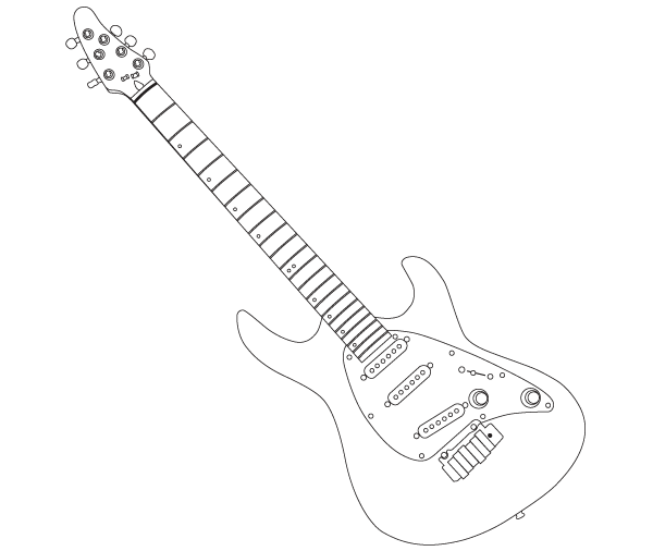 Electric Guitar Outline Clipart.